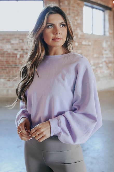 Amped Up Lilac Cropped Pullover