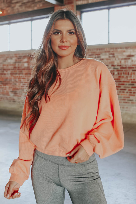 Amped Up Tangerine Cropped Pullover