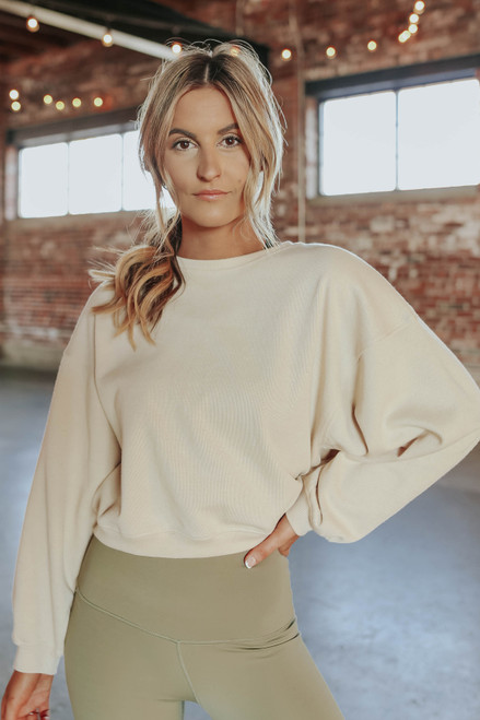 Amped Up Taupe Cropped Pullover