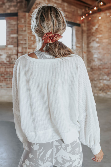 Contrast Stitch White Waffle Pullover
