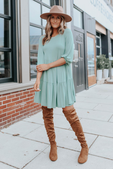 3/4 Sleeve Sage Tiered Dress