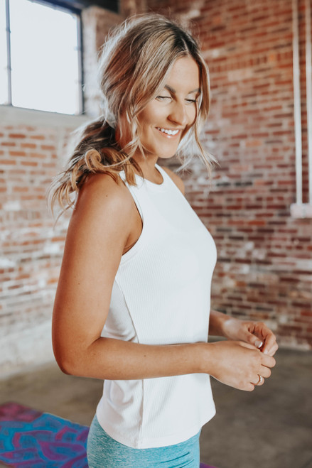 Halter White Ribbed Tank