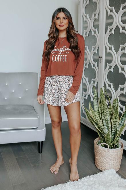 Sunshine & Coffee Leopard Pajama Set