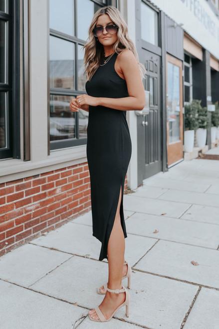 Halter Side Slit Black Midi Dress
