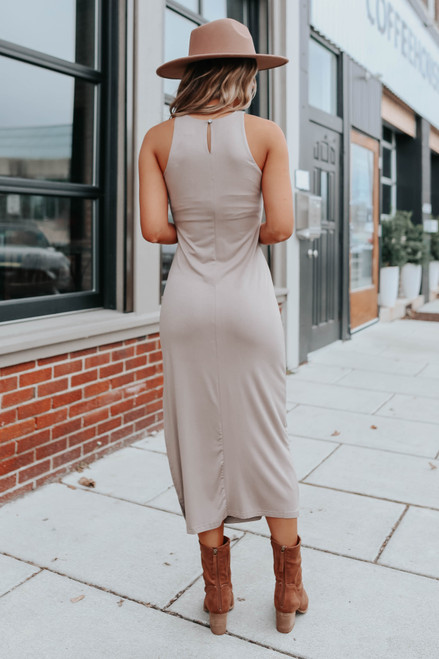 Halter Side Slit Mocha Midi Dress