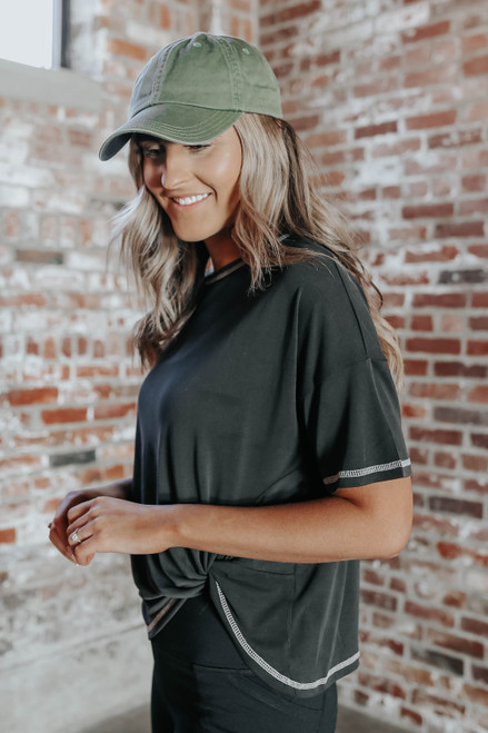 Contrast Stitch Black Twisted Knot Top
