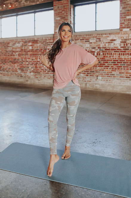Contrast Stitch Rose Twisted Knot Top