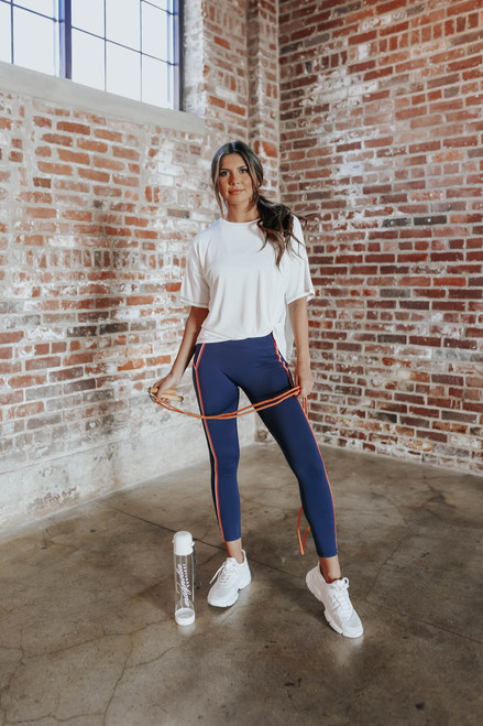Contrast Stitch White Twisted Knot Top