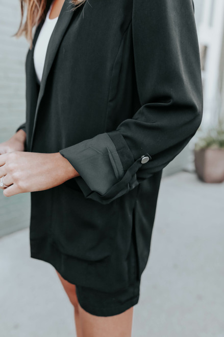 In the City Roll Tab Black Blazer