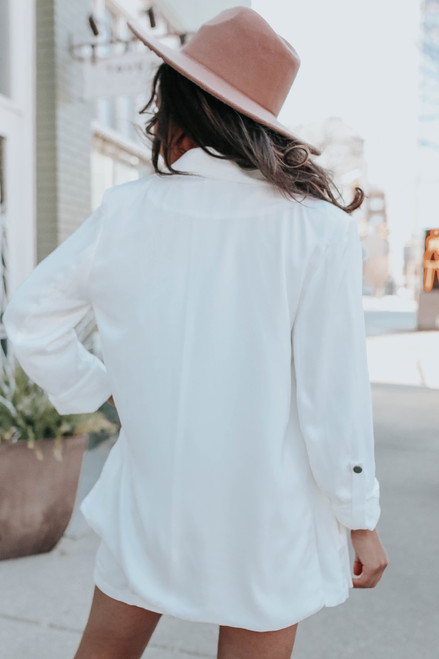 In the City Roll Tab White Blazer