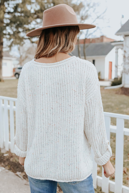 Roll Tab Textured Confetti Sweater