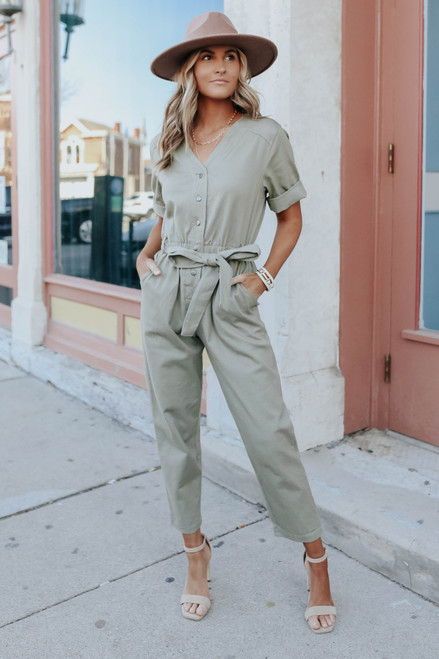 Button Down Tie Waist Utility Jumpsuit