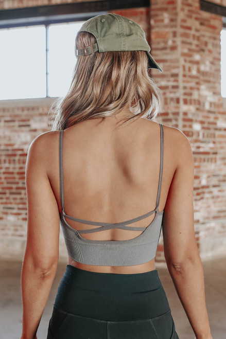 Cross Back Lavender Grey Bralette