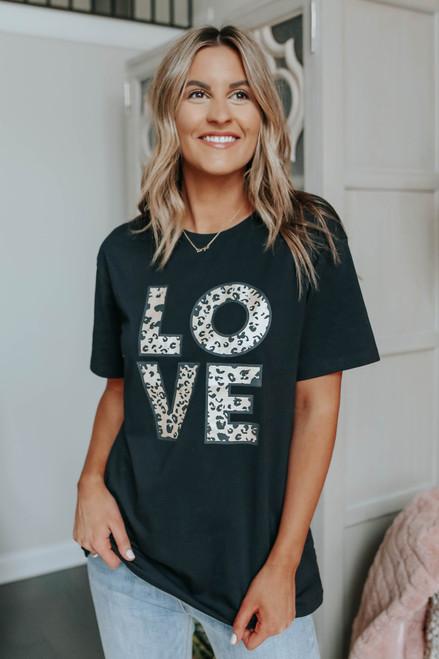 Love Leopard Black Graphic Tee