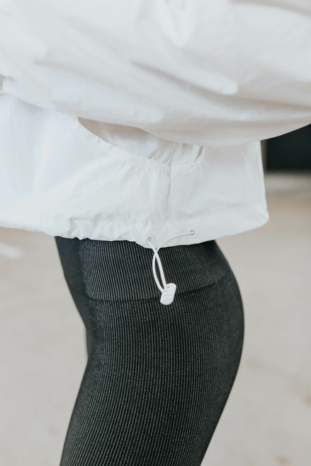 Zip Up White Windbreaker Jacket