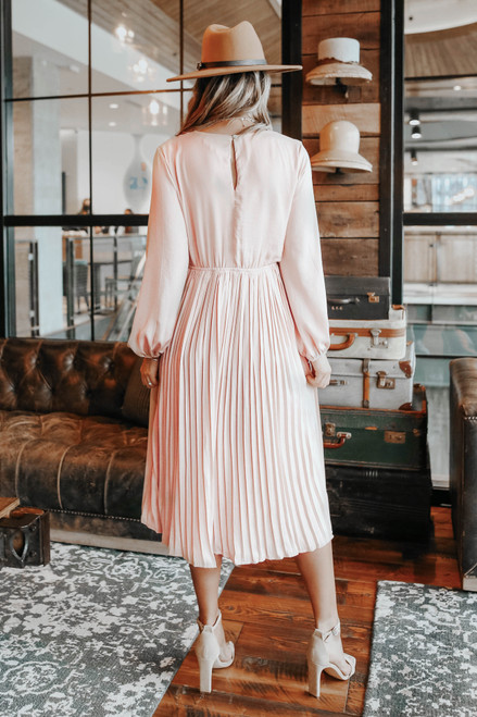 Surplice Pleated Satin Midi Dress