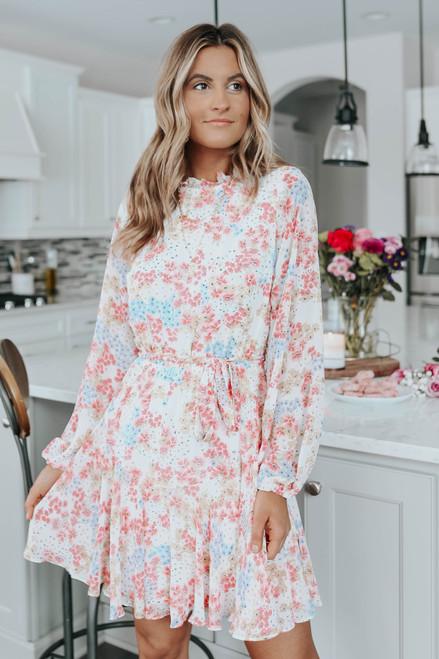 Mock Neck Smocked Pastel Floral Dress