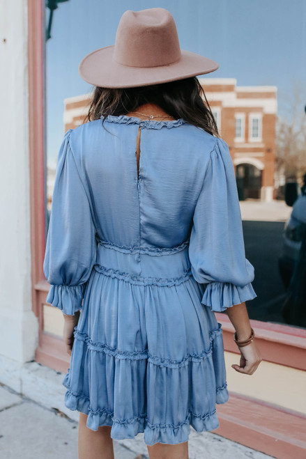 V-Neck Tiered Ruffle Satin Dress
