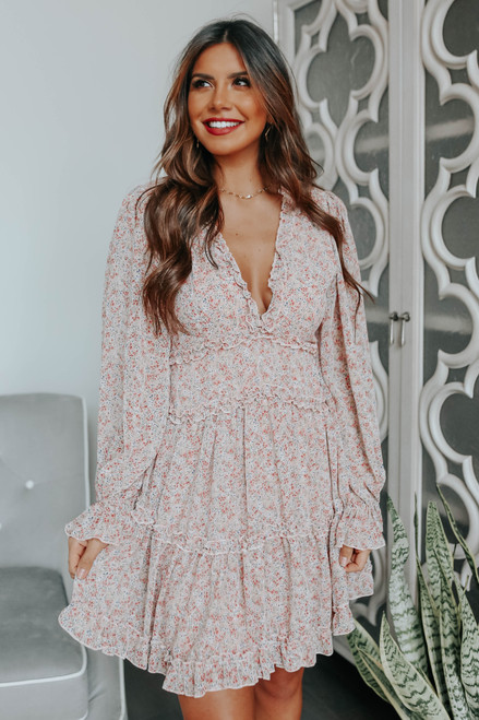 V-Neck Tiered Ruffle Floral Dress