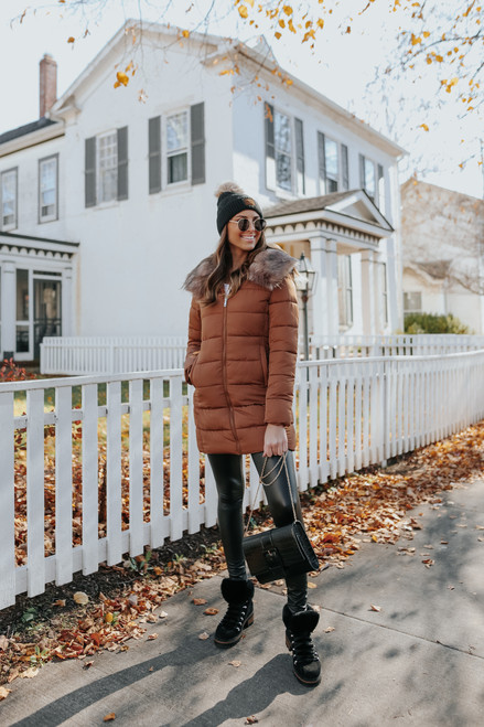 First Snowfall Camel Puffer Coat