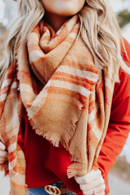 Journey Home Camel Plaid Scarf