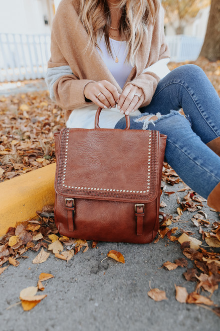 Faux Leather Studded Brown Backpack
