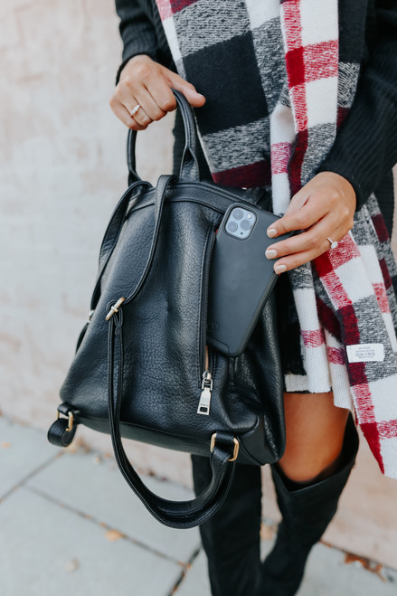 Faux Leather Studded Black Backpack