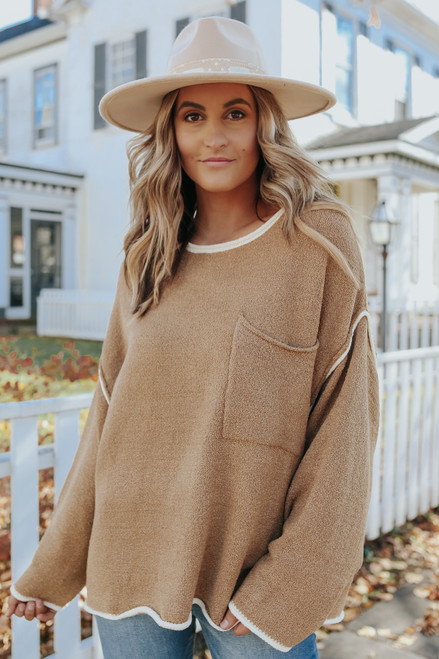 Double Shot Contrast Pocket Sweater