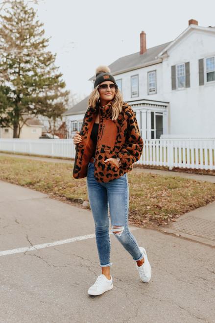 Khloe Zip Up Leopard Teddy Jacket