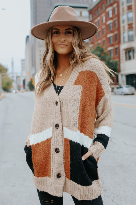 Ember Button Down Colorblock Cardigan