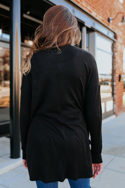 Open Front Black Pocket Cardigan