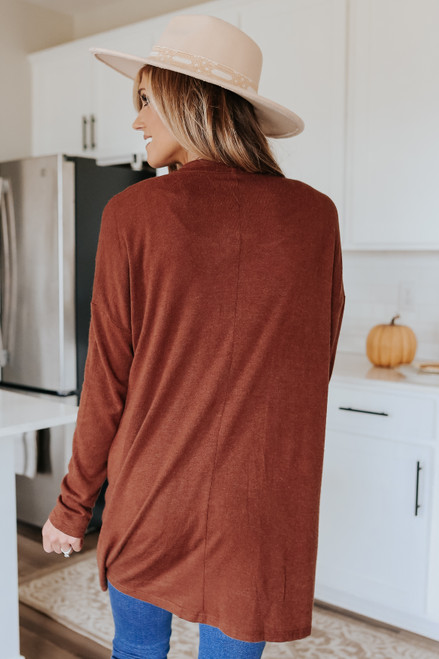 Open Front Brown Pocket Cardigan