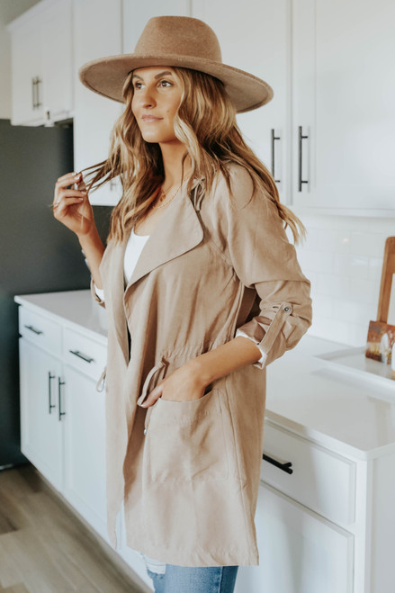 Downtown Taupe Hooded Peach Skin Jacket