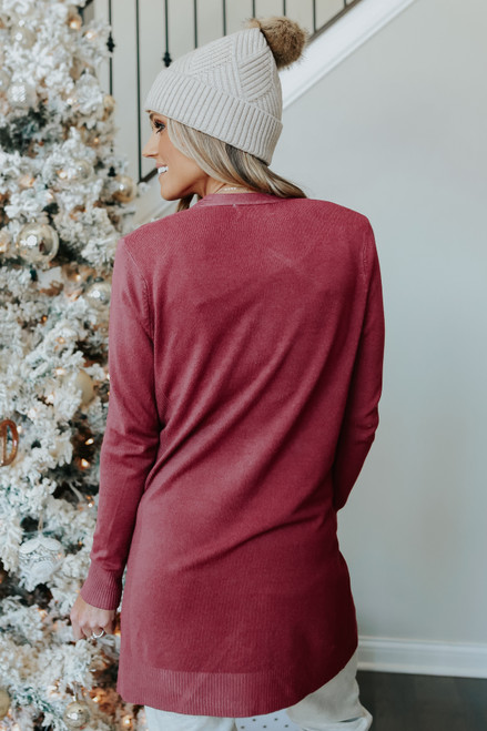 Out & About Open Front Marsala Cardigan