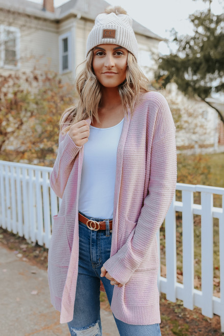 Jolie Hooded Blush Ribbed Cardigan