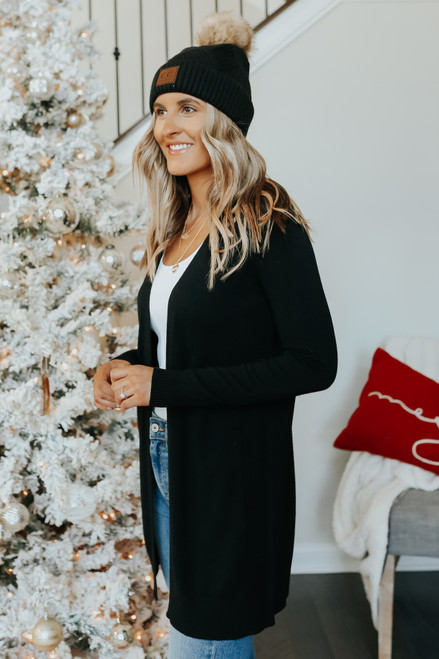 Out & About Open Front Black Cardigan