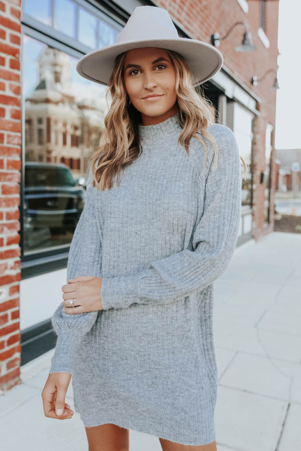 Mock Neck Grey Ribbed Sweater Dress