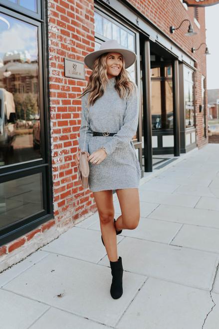 Mock Neck Grey Ribbed Sweater Dress