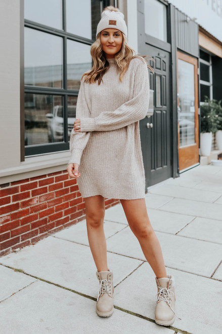 Mock Neck Taupe Ribbed Sweater Dress