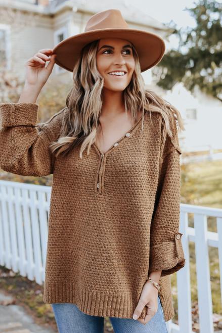 Roll Tab Flecked Henley Sweater