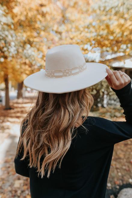 Sutton Printed Ribbon Cream Hat