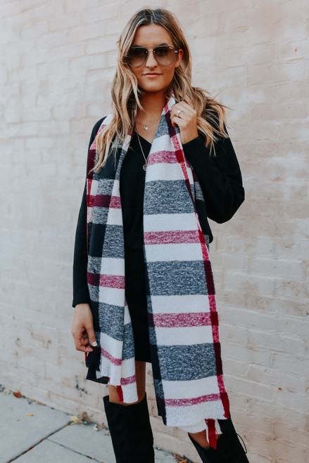 Mad For Black Plaid Oblong Scarf