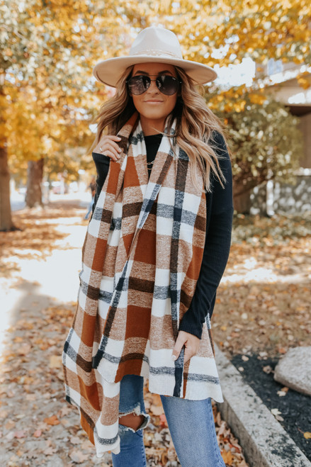 Mad For Camel Plaid Oblong Scarf
