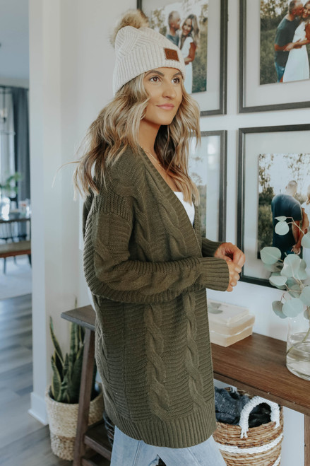 North Mountain Olive Cable Cardigan