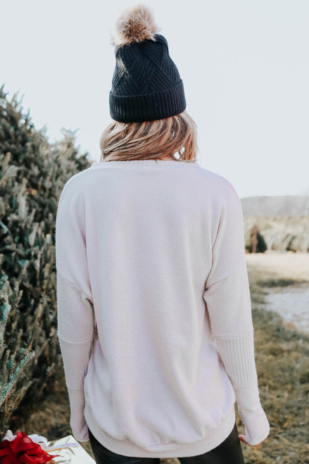 Contrast Brushed Beige Ribbed Pullover