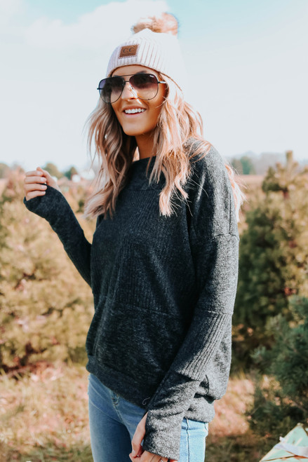 Contrast Brushed Black Ribbed Pullover