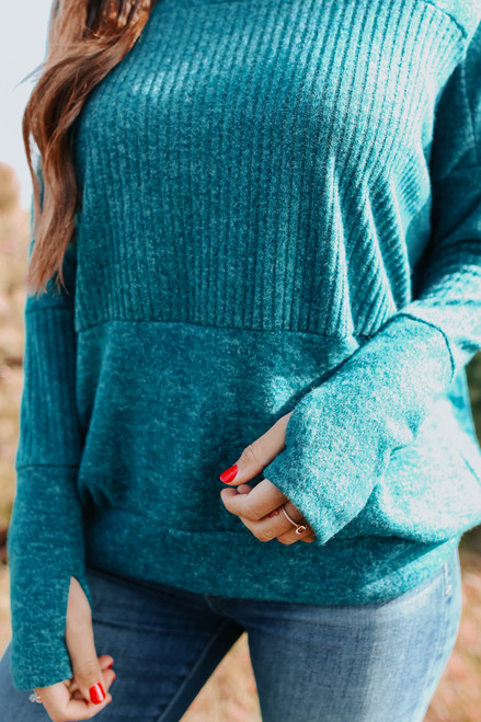 Contrast Brushed Teal Ribbed Pullover