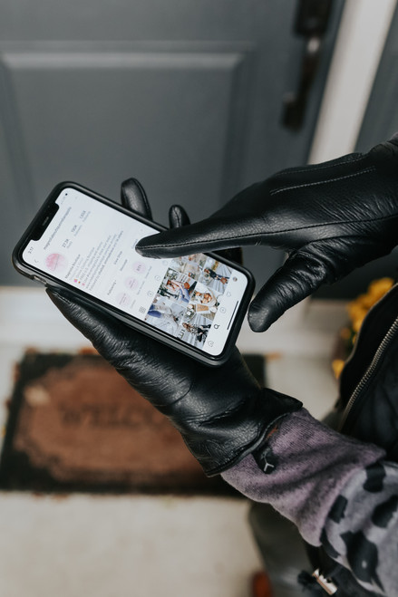 Presley Faux Leather Black Gloves