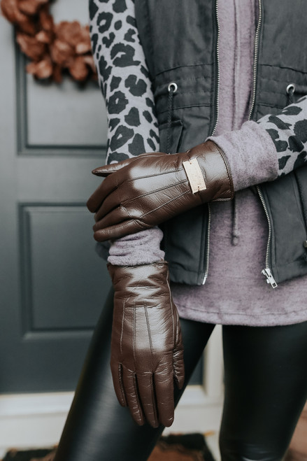 Presley Faux Leather Brown Gloves