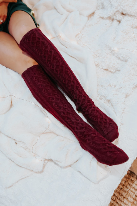 Knee High Cable Knit Socks